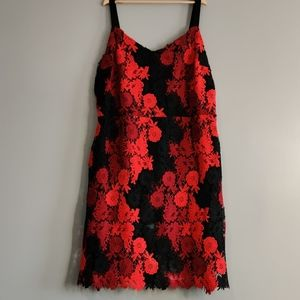 Bebe Sun Dress with Lace Overlay